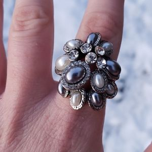 Vintage Faux Black and White Pearl Statement Ring